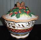 Fitz & Floyd Christmas Jolly Ole St Nick Covered Bowl 9