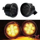 2X Front Amber CREE LED Turn Signal Light Smoke Lens For Jeep Wrangler JK 07 17