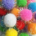 Sparkle Balls Cat Kitten Toys Pom Pom Fuzzy with Tinsel Exercise Assorted Colors