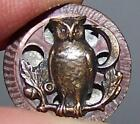 ANTIQUE BRASS TWINKLE MIRROR BACK BUTTON OWL  CRESCENT MOON SMALL BEAUTY