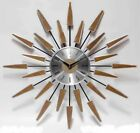 Sunburst Clock Mid Century Modern Wall Decor Vintage Starburst Retro Metal Art