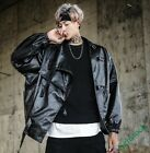 Men's Loose Fit Faux Leather DJ Motoecycle Hip-pop Long Sleeve New Coat Jacket