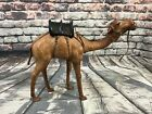 Vtg Camel Leather Wrapped Figure Figurine Statue w Black Saddle 1275x15