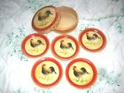 Vintage Tole Painted Red Yellow French Country Paper Mache Coaster Pin Tray Set