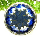 BEAUTIFUL ANTIQUE FRENCH CHAMPLEVE ENAMEL BUTTON WITH BLUE PANSY FLOWERS G111