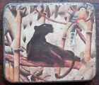 Sherrill Graves airbrushblack panther  parrot on a tin box1940 50s