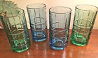 Set 4 Anchor Hocking TARTAN 2 Emerald Green 2 Denim Blue  Iced Tea Water Glasses