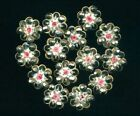 One Antique Victorian ButtonHand Painted French Enamel Roses Cut SteelDimi