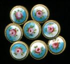 Antique Victorian Button...Hand Painted French Enamel Roses…3 8