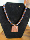 Vintage Copper and Lapis beaded seated pharaoh King Tut Egyptian necklace