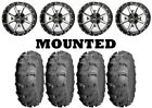 Kit 4 ITP Mud Lite XL Tires 25x8-12/25x10-12 on Frontline 556 Machined IRS