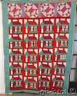 Folk Art! c 1930s American Farm School House VINTAGE Quilt Sampler