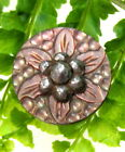 BEAUTIFUL CARVED PINK PEARL FLOWER BUTTON WITH CUT STEELS J92
