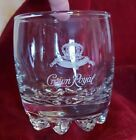 Vintage Crown Royal Etched Logo Lowball Whisky Rocks Barware Glass