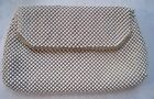 Vintage Whiting & Davis Chain Mail Mesh Cream Ecru Clutch / Cosmetic - RARE!