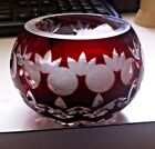Small CRANBERRY RUBY RED ROMANIA CUT TO CLEAR ROSE OR CANDLE BOWL
