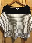 Old Navy Womens Black Yoke  White Stripe Crew Neck Shirt 3 4 Sleeve Top XL