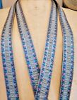 4 Vintage French c1950s Rayon  Blue Metallic Trim Tiny Pink Ombre Florals