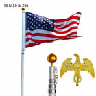 20 25 FT Aluminum Flag Pole Telescopic Flagpole Kit 3 x 5 American US Flag