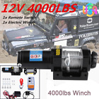 12V 4000LBS Portable Electric Winch Towing Truck Trailer Steel Cable Off Road US