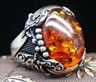Turkish handmade Jewelry 925 Sterling Silver Amber Mens Ring  ALL SIZE #15649
