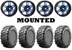 Kit 4 Maxxis Carnivore Tires 28x10-14 on STI HD7 Blue Wheels IRS