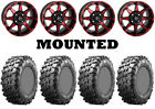 Kit 4 Maxxis Carnivore Tires 28x10-14 on STI HD6 Red Wheels IRS