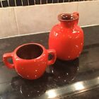 Vintage Frankoma Pottery Orange Honey Pitcher Jug # 833 And Mug #58