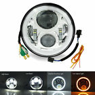 Chrome 7 inch Round LED Headlight Replacement Headlamp for Harley Jeep Wrangler