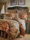 2 Waverly Somerset Botanical Floral Standard Pillow Shams in Antique Gold NOS