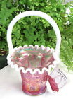LOVELY FENTON PINK CARNIVAL CREST BASKET CRIMPED EDGE ORIGINAL HANG TAG