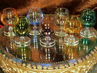 7 BEAUTIFUL Vintage Shot Glasses CLEAR Foot EACH IS A DIFFERENT COLOR!