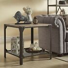 Industrial End Table Iron Base with a Grated Bottom Shelf Rustic Wood Table Top