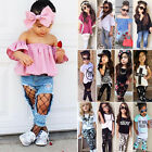 2pcs Kids Baby Girls Outfits Casual T shirt Tops Long Pants Leggings Clothes Set