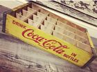 #182 Vintage Near Mint Yellow Coke Coca Cola Wood Soda Crate 24 Dividers