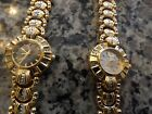 2 New old stock women's quartz watches by Edward Lynn - 18K gold plate