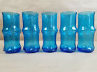 Set 5 Mid Century Bamboo Drinking Glasses Collins Tall Tiki BLUE Barware Vintage