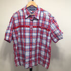 Vtg 90s Tommy Jeans Mens Shirt Red Plaid Size XXL Button Down Short Sleeve