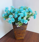 4 Artificial Blue Rose Flowers Grasses Wedding Decoration