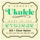 DAddario Soprano Ukulele Clear Nylon Strings J65 4 Strings SET