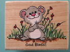 SUZYS ZOO Mouse God Bless RUBBER STAMPEDE Rubber Stamp