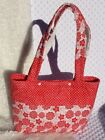 Quilted Tote Bag Shopping Bag Red and White FloralHomemade Designed