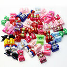 10 100Pcs 3D Small Puppy Pet Dog Rhinestone Hair Bow Rubber Bands Grooming New