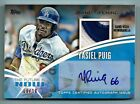 YASIEL PUIG 2014 TOPPS GRAND OPENING THE FUTURE IS NOW 2 COLOR PATCH AUTO 10