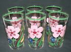Set of Six Federal Hand Painted GAY FAD Tumblers Lavender Petunias Green Accents