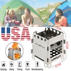 Outdoor Hiking Portable Pocket Wood Stove Backpacking Wood Burning Stove US X6O9