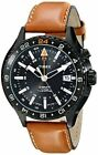 Timex T2P427, Men's GMT-3 Time Zones Leather Watch, Indiglo, Intelligent Quartz