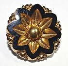 Antique/Vintage Button Beautiful Gold Lustered Black Glass Medium 22.7mm