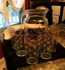 MCM Federal Glass Forget Me Not  Pitcher and Tumbler Set-Vtg. Rare!