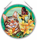 Cat Butterfly Sun Catcher AMIA Hand Painted Glass 65 Lily Flowers Kitten New